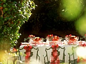 Table laid in garden for a romantic summer party