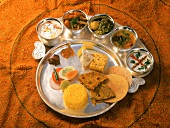 Thali (assorted dishes and dips), Gujarat, India