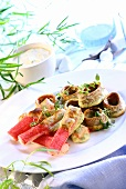 Seafood platter with surimi and cuttlefish