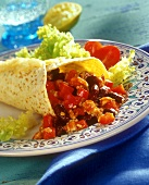 Tex-Mex wrap with mince filling