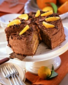 Orange gateau with chocolate cream