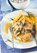 Turkey escalope with mango and rosemary