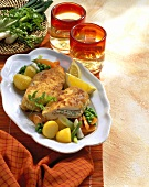 Chicken Cordon bleu with vegetables