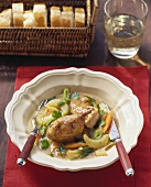Chicken in Riesling with kohlrabi and carrots