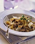 Ribbon pasta with mushroom and mascarpone sauce