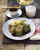Cabbage roulades with mashed potato & cranberries (Finland)