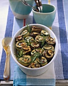 Baked vegetables rolls with rosemary
