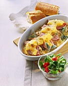 Turkey escalope Hawaiian style with ham & pineapple; baguette