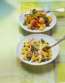 Ribbon pasta with ham; pasta with meat and tomato sauce