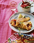 Mexican style pancake wraps with mince filling