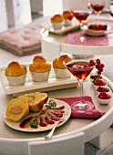 Brioches with goose liver and duck breast; Kir Royal