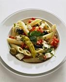 Pasta fredda alla contadina (Pasta salad with sheep's cheese)
