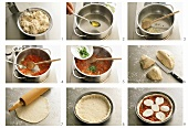 Preparing pizza Margherita