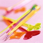 Coloured cocktail sticks