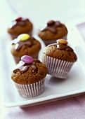 Chocolate muffins with coloured chocolate beans