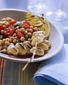 Barbecued squid kebabs with chick-pea salad