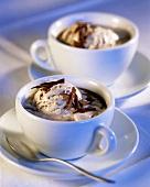Mocha coffee with chocolate and nut ice cream