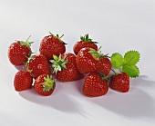 Fresh strawberries with a leaf
