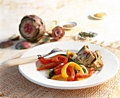 Artichoke and pepper salad with thyme