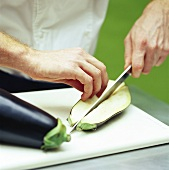 Cutting up an aubergine