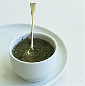 Mint sauce in small bowl