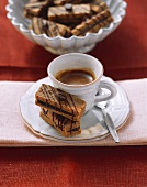 Cup of espresso with home-made espresso biscuits