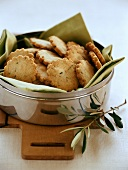 Parmesan biscuits in silver bowl