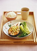 Steamed salmon cutlet with pak choi