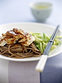 Chicken breast with mustard sauce on soba noodles