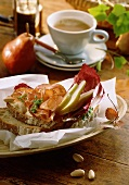 Farmhouse bread with ham, pears and radicchio; espresso