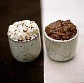 Chocolate rice and rice pudding with cinnamon
