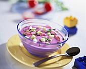 Chlodnik (cold yoghurt & vegetable soup, Poland) for children