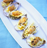 Oyster gratin with lemon zest