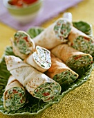 Wraps with cheese and spinach filling