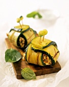 Courgette rolls with mince filling