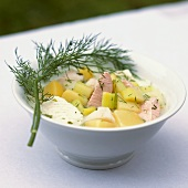Fish stew with cucumber and dill