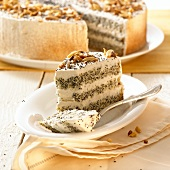 Poppy seed cake with chopped almonds