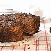 Chocolate cake with piece on cake slice