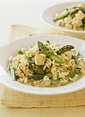 Risotto with chicken and green asparagus