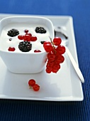 Yoghurt with fresh berries in small bowl
