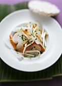 Radish and carrot salad with sprouts; rice wafer