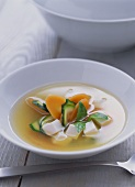Miso soup with tofu, courgettes and carrots