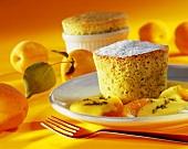Pistachio soufflé with apricot sabayon
