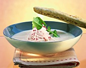 Radish soup with savoury sticks
