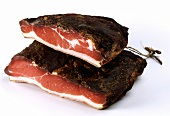 Two pieces of Tyrolean ham (schinkenspeck)