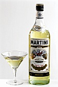 Martini bianco in bottle and aperitif glass