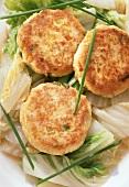 Tofu burger on salad leaves