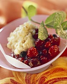 Stewed berries with rice pudding