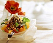 Sweet kasha with citrus salad