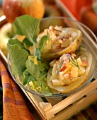 Apple & potato salad in hollowed out baked potatoes